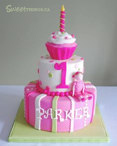 BABY GIRL TWO TIER BIRHTDAY CAKES | is another view of the cake. All 3-tiers were strawberry vanilla cake ... 1st birthday girl cake, birthday parti, girl birthday cakes, first birthday girl cake, first birthdays, 1st birthday cakes girl, 1st birthdays, baby girl birthday cake, birthday ideas