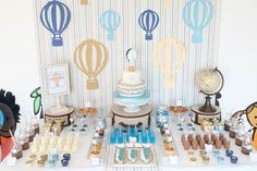 Hot Air Balloon themed birthday party with So Many Cute Ideas via Kara's Party Ideas! Full of decorating tips, cakes, cupcakes, favors, games, and MORE! #hotairballoon #hotairballoonparty #upupandaway #boyparty #partydecor #partyideas #partystyling #eventstyling (27)