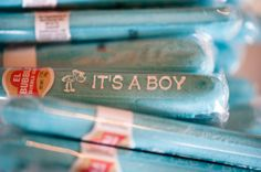 "Classic baby shower - ""It's a boy"" candy cigar! Check out this very blue and very whale, all boy baby shower."