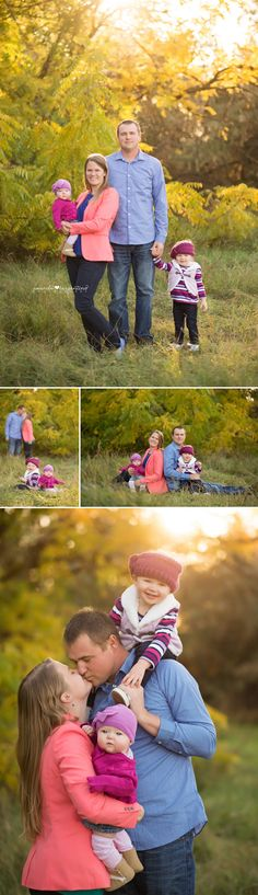 Family photography family of four, fall leaves, neon colors blue, peach, teal, purple, maroon, lavendar