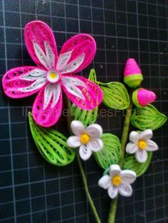 Paper - Quilling pink - white Flower with Blossoms