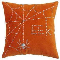 Halloween Eek rhinestone spider web pillow.