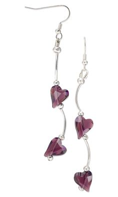 Earrings with Swarovski Crystal Beads and Silver-Plated Tube Beads by Jude at Fire Mountain Gems and Beads.