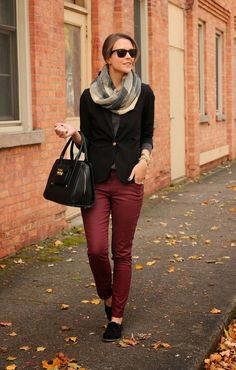 LoLus Fashion: Oh Great Outfit Lovely Scarf + Black Blazer + Burg...