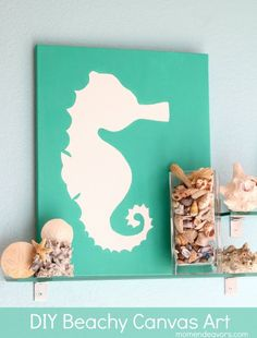 diy ideas, beach crafts, diy canvas art, diy art, seahorses
