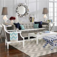 Jonathan Adler Furniture Lampert Brussels Charcoal Sofa @Sarah Chintomby Nasafi Grayce #laylagrayce #jonathanadler #livingrooms