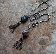 TITANIUM druzy earrings TITANIUM Drusy tassel by AngryHairJewelry, $29.00