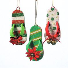 Beach Party Green Polka Dot Jingle Bells Flip Flops Christmas Ornament