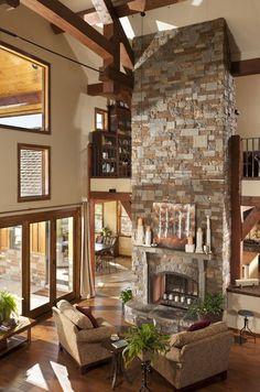 custom timber, hous idea, dream hous, timber homes, comfy fireplace