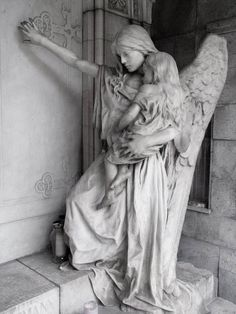 Angel statue in the graveyard of Trzic, Slovenia by ~lordradi
