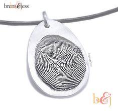 Custom Fingerprint Pendant - Sterling Silver Custom Thumbprint or Fingertip Print Oval Pendant/Charm