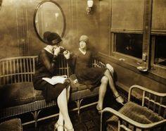 Smoking on the train, 1920's