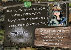 SWAMP Invitation Crocodile People HUNTING Boys Birthday Party Theme camo Camouflage photo Invite Personalized Alligator card. $14.98, via Etsy.