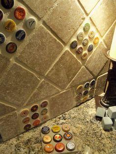 Bottlecap backsplash tile. Fun idea for a basement bar.