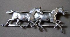 Vintage silver horse pin