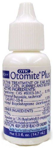 $14.18-$9.45 Otomite Plus Ear Mite Treatment (14.7 mL) - Otomite plus eliminates ear mites without irritation. Contains the highest levels of synergized pyrethrins available. Labeled for use on dogs and cats of any age. Directions for use: Cleanse ear thoroughly with a low pH ear cleanser, like Epi-Otic. Place sufficient Otomite Plus in each ear to wet external ear canal. Spread product inside ea ...