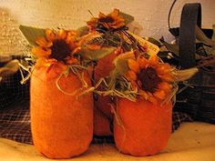 Get ready for Fall with this adorable Primitive Pumpkin Trio.  Hand painted muslin and scented.