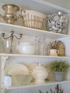 Beautiful Vintage Open Farmhouse Kitchen Shelving From Salvaged Materials !