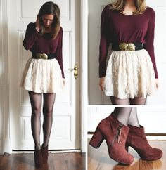 burgundy long sleeve shirt, white lace/floral skirt, belt, stockings & boots