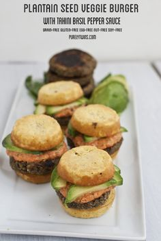 ultimate grain-free egg-free  soy-free legume-free veggie burger with tahini basil pepper sauce! Simple ingredients and taste AMAZING. Perfect veggie burger || recipe over at purelytwins.com