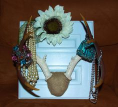 Hand painted deer antler art/decor/jewelry by ChumpChangedDesigns, $85.00