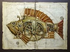 artists, drawings, animals, animal illustrations, gear, nurseri, zoos, design, steampunk fish