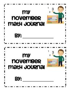 November Themed Math Journals - Freebie