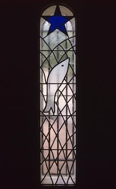 Henri Matisse 1869 - 1954  Interior view of the Chapel of the Rosary at Vence: Stained glass at the entrance door