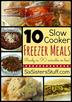 10 Slow Cooker Freezer Meals in Less Than 90 Minutes from SixSistersStuff.com! #freezermeals #sixsistersstuff