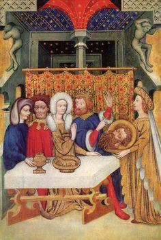 Maestro di Ulmer, Banchetto di Erode, 1405 c.,Ulmeru,Munster--- belli i cavalletti