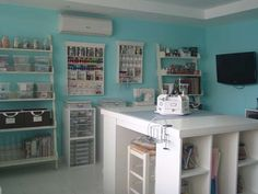 wall colors, craft space, storage shelves, room crafts, room colors