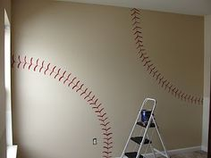 DIY Baseball wall. Such a good idea for a son!