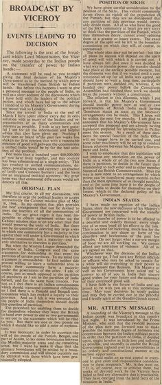 The Times reports in Lord Mountbatten's radio broadcast on partition, 4 June 1947 Catalogue reference: CAB 21/2038 (Includes audio recording of document)  Education | Education | Topics | The Road to Partition