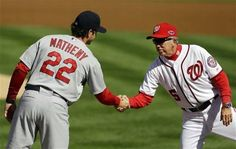 Game 3 of the NLDS- Managers shake hands before the game  10-10-12