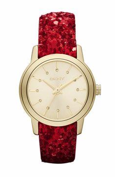 Red glitter-strap watch