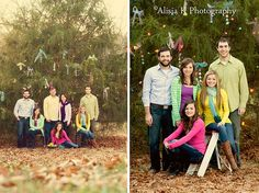 This is a great idea - decorate a tree in your yard for Christmas card photos