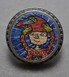 image of Girl with Bird Hat mosaic brooch (Cynthia Toops)