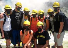 """Gasmasks and hardhats on at the only active volcano in New Zealand #UDabroad""--@emilylieb"