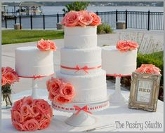 Coral Coral reception wedding flowers,  wedding decor, wedding flower centerpiece, wedding flower arrangement, add pic source on comment and we will update it. www.myfloweraffair.com can create this beautiful wedding flower look.