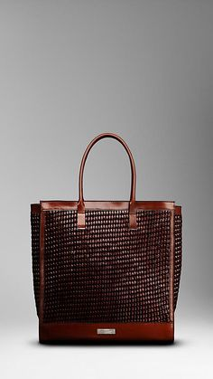 LARGE WOVEN LEATHER TOTE
