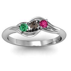 Three Stone Bypass Swirl Mothers Ring #jewlr