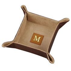 Personalized Brown Leather Snap Tray