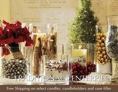 vase filler, holiday, idea, christmas centerpieces, jingle bells, christma decor, wedding centerpieces, pottery barn, design thinking