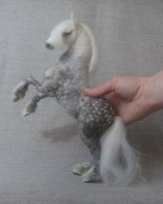 Needle felted horse dapple gray pony original one of by Ainigmati, $350.00