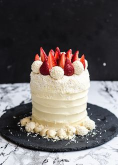 Dreamy Roasted Strawberry White Cake with Velvet Cream Cheese Icing