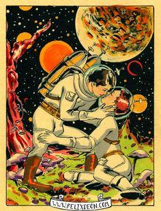 Spaceman Embraces, Male Nude Figure Drawing Fine Art Erotic vintage gay comic space