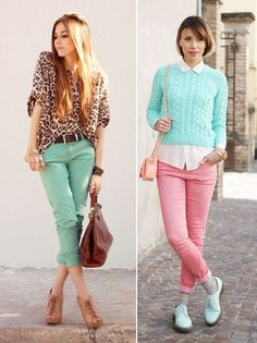 Mint and coral jeans