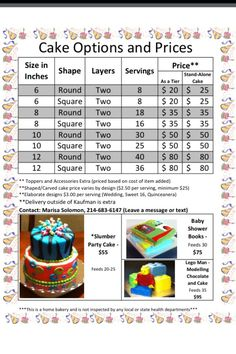 Cake Price Sheet (Pricing for a home bakery. Good to know)