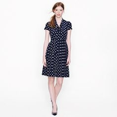Polka-dot tie-neck dress  J. Crew 100% silk