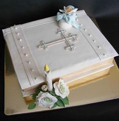Great Christening cake idea just add two babies to convert to Twins Christening Cake